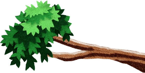 green felt tree limb
